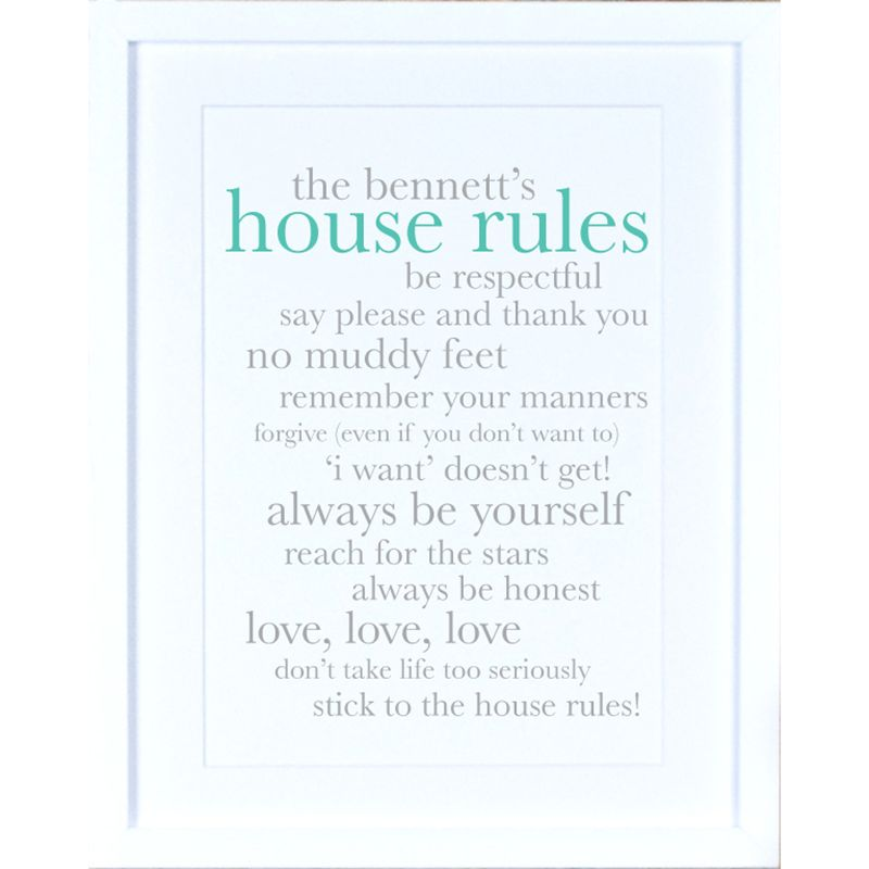 Megan Claire Megan Claire - Personalised Definiton House Rules Framed Print