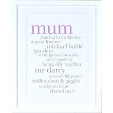 Buy Megan Claire - Personalised Mum Definition Framed Print, 35.5 x 27.5cm Online at johnlewis.com