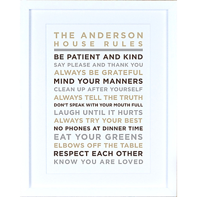 Megan Claire – Personalised House Rules Framed Print, Neutral