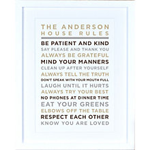 Buy Megan Claire - Personalised House Rules Framed Print, Neutral Online at johnlewis.com