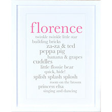 Buy Megan Claire - Personlised Baby Girl Definition Framed Print, 35.5 x 27.5cm Online at johnlewis.com