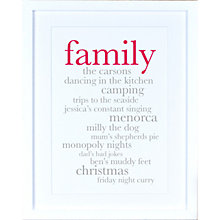 Buy Megan Claire - Personlised Family Definition Framed Print, 35.5 x 27.5cm Online at johnlewis.com