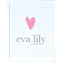 Buy Megan Claire - Personalised Child's Name with Heart Framed Print Online at johnlewis.com