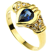 Buy Turner & Leveridge 1980s 18ct Gold Pear Shaped Sapphire and Diamond Surround Ring Online at johnlewis.com