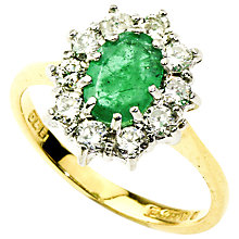 Buy Turner & Leveridge 1980s 18ct Gold Oval Emerald and Diamond Surround Cluster Ring Online at johnlewis.com