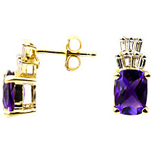 Buy Turner & Leveridge 14ct Yellow Gold Amethyst and Diamond Drop Earrings, Yellow Gold/Purple Online at johnlewis.com
