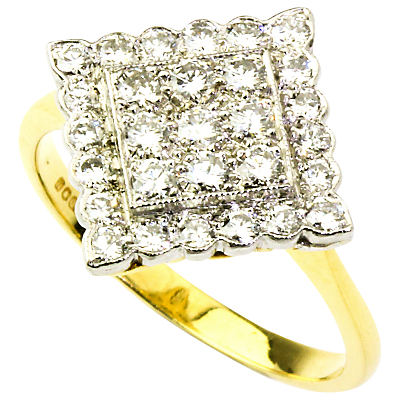 Turner & Leveridge 1990s 18ct Gold 29 Stone 0.58ct Diamond Lozenge Ring