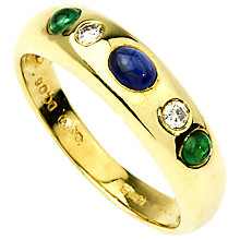 Buy Turner & Leveridge 18ct Yellow Gold Cabochon Sapphire, Emerald and Diamond Ring Online at johnlewis.com