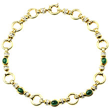 Buy Turner & Leveridge 1996 18ct Yellow Gold Emerald and Diamond Necklace, Gold/Green Online at johnlewis.com