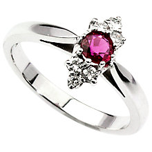 Buy Turner & Leveridge 18ct White Gold Ruby and Marquise Diamond Cluster Ring Online at johnlewis.com