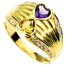 Buy Turner & Leveridge 1990s 18ct Yellow Gold Heart Shaped Amethyst, Citrine and Diamond Border Ring Online at johnlewis.com