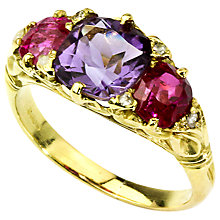 Buy Turner & Leveridge c.1890s Victorian 18ct Yellow Gold Amethyst, Ruby and Diamond Ring Online at johnlewis.com