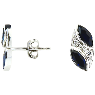Turner & Leveridge 2000s 18ct White Gold Marquise Sapphire and Brilliant Diamond Stud Earrings, White Gold/Blue