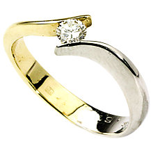Buy Turner & Leveridge 9ct White and Yellow Gold 0.15ct Diamond Crossover Ring Online at johnlewis.com