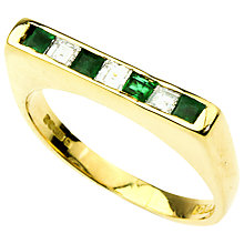 Buy Turner & Leveridge 1990s 18ct Gold Princess Cut Emerald and Diamond Ring Online at johnlewis.com