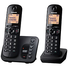 "Buy Panasonic KX-TGC222EB Digital Cordless Telephone with 1.6"" Backlit LCD Screen, Nuisance Call Blocker & Answering Machine, Twin DECT Online at johnlewis.com"