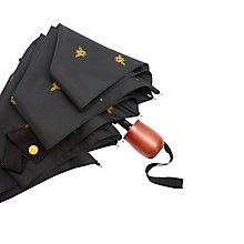 Buy Joules Bee Print Folding Umbrella, Black/Gold Online at johnlewis.com