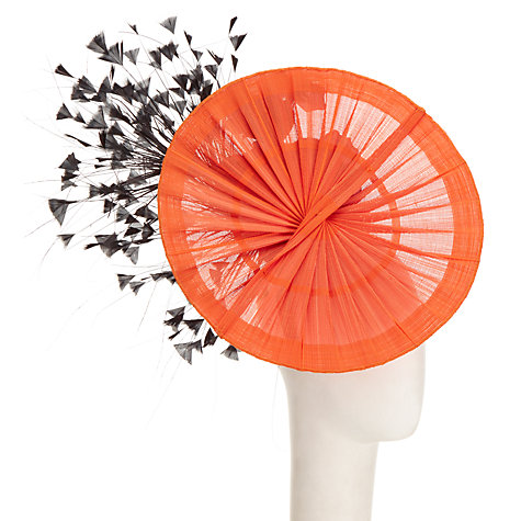 Buy Rebecca Couture Elsa Fanned Disc Fascinator, Orange/Black Online at johnlewis.com