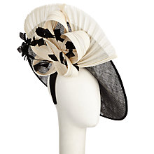 Buy Rebecca Couture Sami Disc Fanned Under Brim Occasion Hat, Black/White Online at johnlewis.com