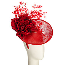 Buy Rebecca Couture Layla Disc and Feathers Fascinator, Red Online at johnlewis.com
