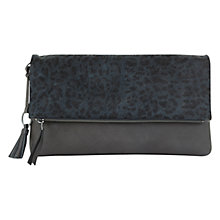 Buy Mint Velvet Tilly Leopard Clutch Bag, Charcoal Online at johnlewis.com