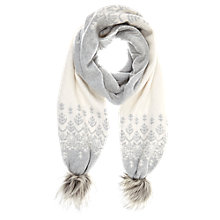 Buy Mint Velvet Fairisle Faux Fur Pom Pom Scarf, Cream/Grey Online at johnlewis.com