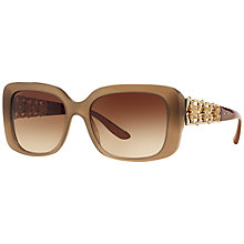 Buy Bvlgari BV8167B Rectangular Bejewelled Sunglasses, Brown Online at johnlewis.com