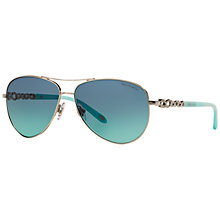 Buy Tiffany & Co TF3049B Aviator Sunglasses, Silver/Blue Online at johnlewis.com