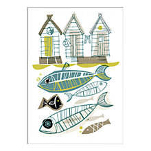 Buy Gillian Martin - Beach Huts Unframed Print with Mount, 40 x 30cm Online at johnlewis.com