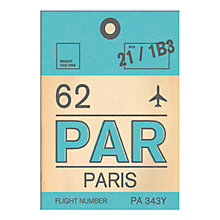Buy Nick Cranston - Luggage Labels: Paris Unframed Print with Mount, 40 x 30cm Online at johnlewis.com