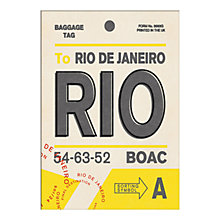 Buy Nick Cranston - Luggage Labels: Rio Unframed Print with Mount, 40 x 30cm Online at johnlewis.com