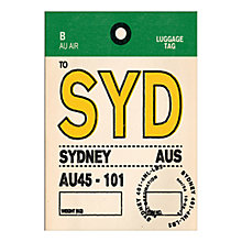 Buy Nick Cranston - Luggage Labels: Sydney Unframed Print with Mount, 40 x 30cm Online at johnlewis.com