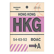 Buy Nick Cranston - Luggage Labels: Hong Kong Unframed Print with Mount, 40 x 30cm Online at johnlewis.com