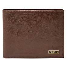 Buy Fossil Omega Leather Passcase Wallet, Dark Brown Online at johnlewis.com