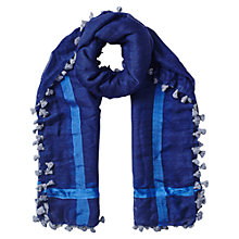 Buy East Wool Silk Pom Pom Scarf, Indigo Online at johnlewis.com