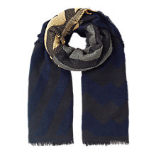 Buy East Zig Zag Jacquard Scarf, Indigo Online at johnlewis.com