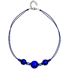 Buy Martick Bon Bon Murano Glass Necklace, Matte Blue Online at johnlewis.com