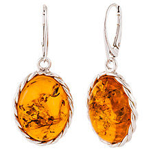 Buy Be-Jewelled Cognac Plaited Sterling Silver Amber Drop Earrings, Amber Online at johnlewis.com
