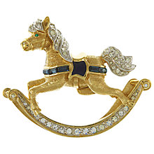 Buy Eclectica Vintage 1980s Attwood & Sawyer Gold Plated Glass Enamel Horse Brooch, Gold/Blue Online at johnlewis.com