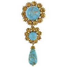 Buy Eclectica 1950s Opaque Gold Plated Faux Turquoise Rhinestone Brooch, Gold/Turquoise Online at johnlewis.com