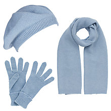 Buy John Lewis Made in Italy Cashmere Scarf, Gloves and Beret Set, Light Blue Online at johnlewis.com