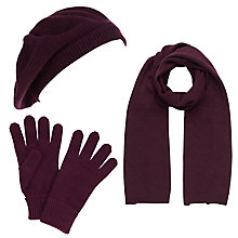 Buy John Lewis Made in Italy Cashmere Scarf, Gloves and Beret Set, Claret Online at johnlewis.com