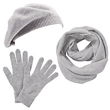 Buy John Lewis Made in Italy Cashmere Snood, Gloves and Beret Set, Grey Online at johnlewis.com