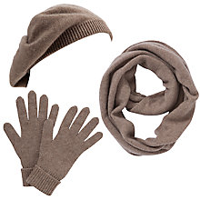 Buy John Lewis Made in Italy Cashmere Snood, Gloves and Beret Set, Toast Online at johnlewis.com
