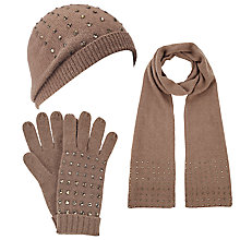 Buy John Lewis Beaded Crystal Scarf, Beanie Hat and Gloves Set, Toast Online at johnlewis.com