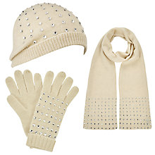 Buy John Lewis Beaded Crystal Scarf, Beanie Hat and Gloves Set, Cream Online at johnlewis.com