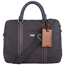 Buy Ted Baker Snowdor Waxed Canvas Document Bag, Navy Online at johnlewis.com