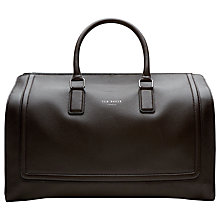 Buy Ted Baker Raised Edge Leather Holdall, Chocolate Online at johnlewis.com