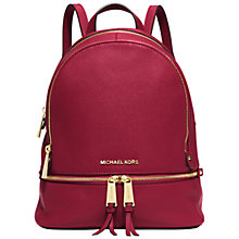 Buy MICHAEL Michael Kors Rea Zip Small Leather Backpack Online at johnlewis.com