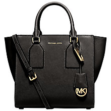 Buy MICHAEL Michael Kors Selby Medium Leather Satchel, Black Online at johnlewis.com
